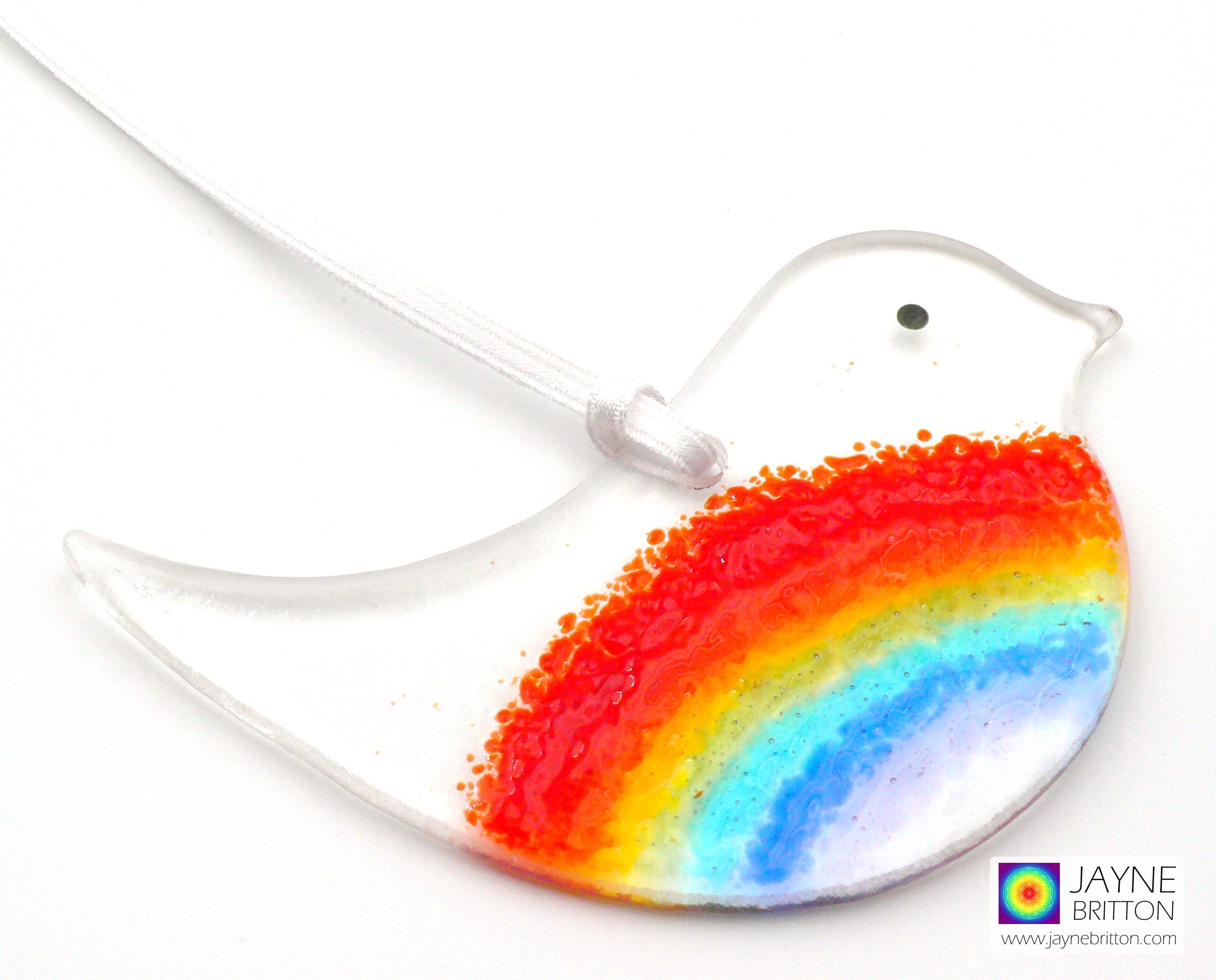Rainbow fused glass bird, handmade textured glass