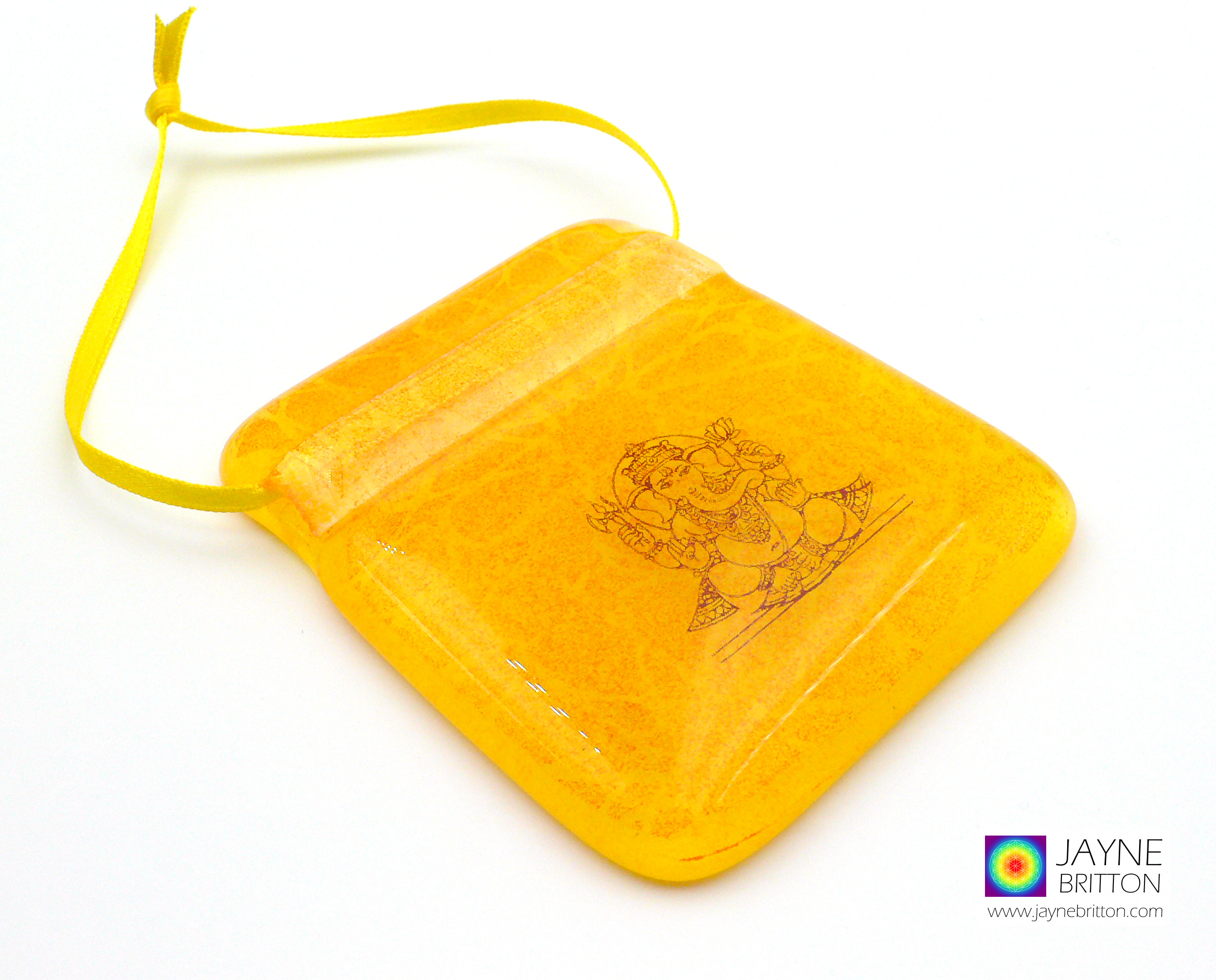 Ganesh sacred geometry light catcher, handmade fused glass