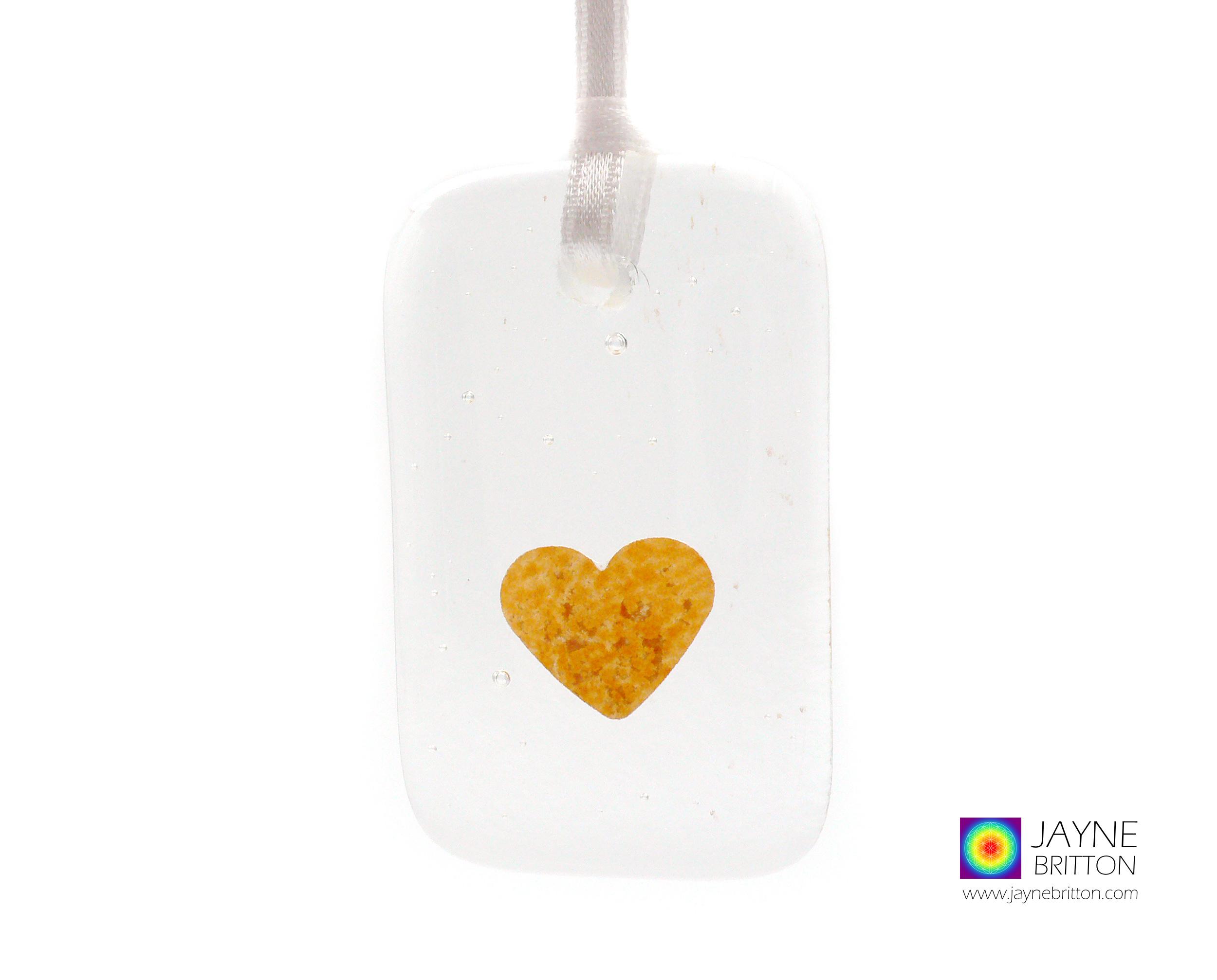 Gold heart light catcher, handmade fused glass gift